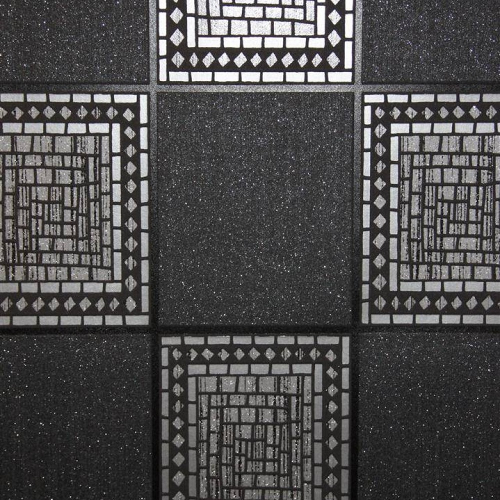 Mosaic Tile Black Silver Wallsorts