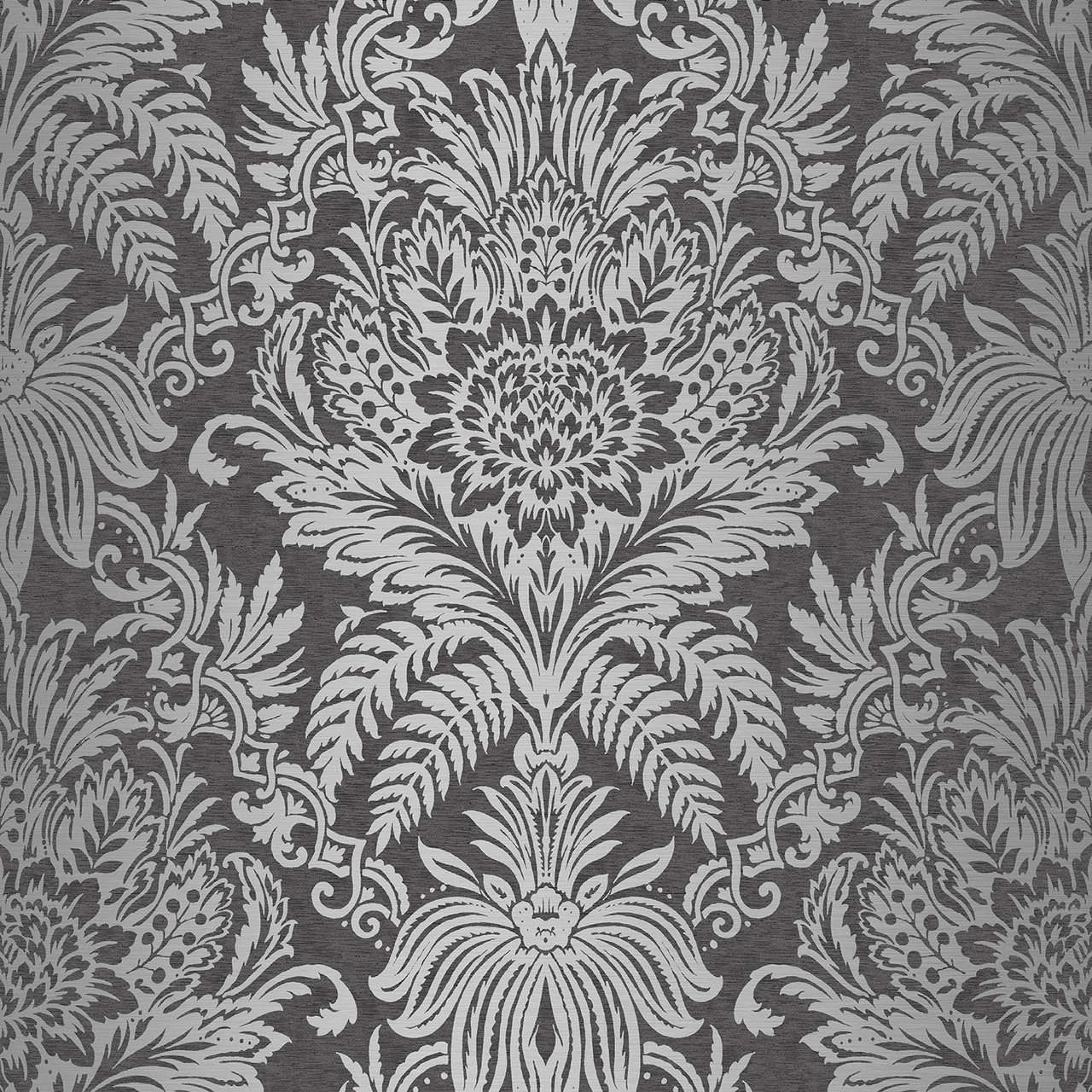 Damask black silver wallsorts for Black white damask wallpaper mural